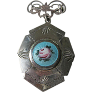 1900-1920- Sterling and  Guilloche enameled -Locket pin