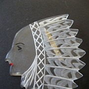 Large etched- Native American-princess Pin