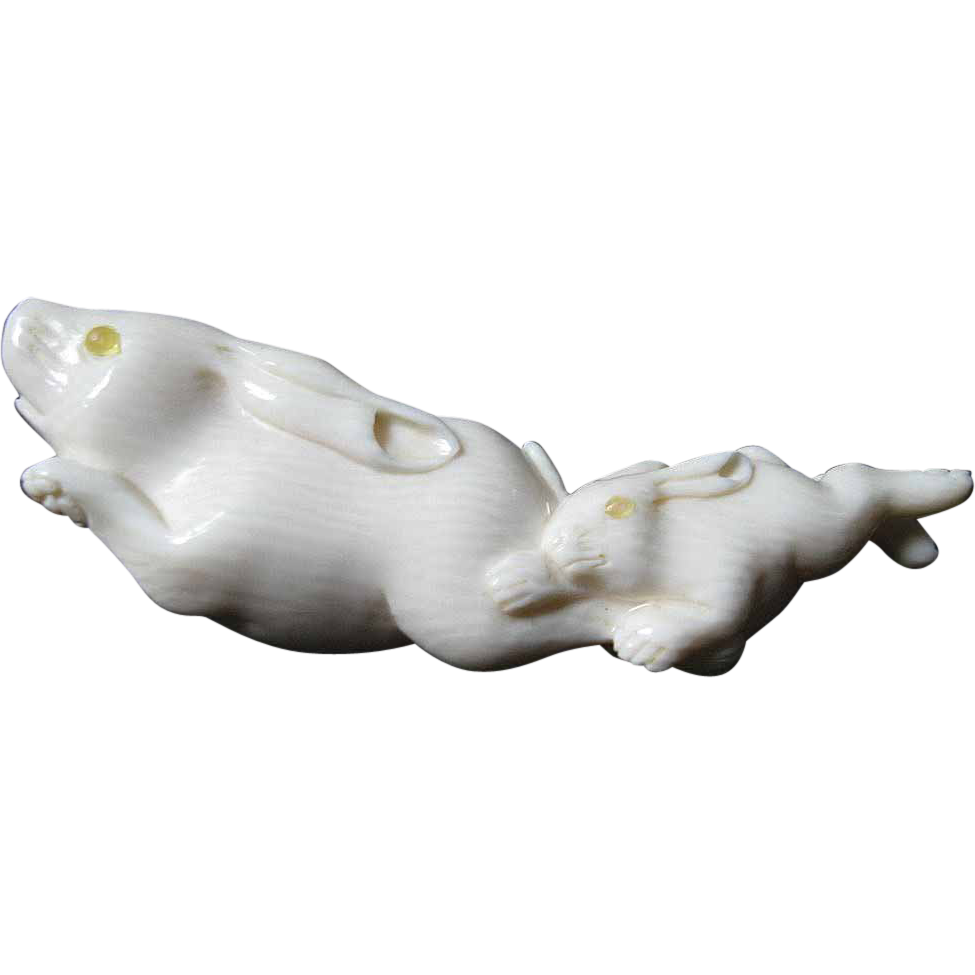 Fabulous- Carved Ivory- figure-Rabbits