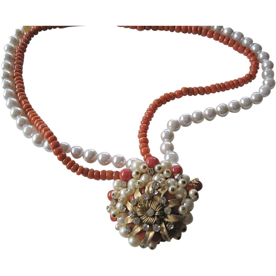 Natural coral and faux pearls- Medallion Necklace- signed