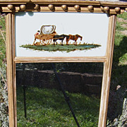 19th Century Reverse Painting Sheraton Mirror