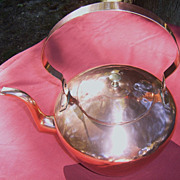 19th Century American Copper Swing Handle Tea Kettle