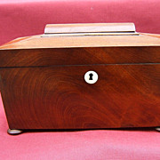 19th Century Mahogany Sarcophagus Shaped Tea Caddy