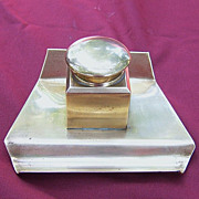Continental Solid Brass Inkstand with Glass Pot Insert Clean Lines