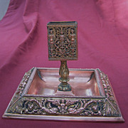 Copper and Brass Match Box Holder and Ash Tray