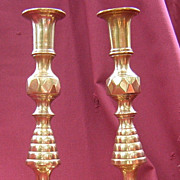 Pair of Brass 19th Century Diamond Pattern Candlesticks