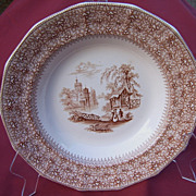 19th Century Brown Transferware Waverley Soup Bowl Thomas Edwards