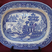 Blue Willow Platter by Buffalo Pottery Co.