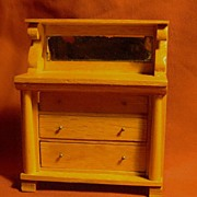 Vintage Doll House Oak Empire Style Chest of Drawers