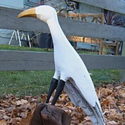 Bird Sculpture Of A Great Egret Carved From Driftwood