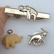 Vintage Elephant Tie Clasp, Lapel Pin and Elephant Charm