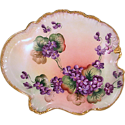 Beautiful Vienna Austria Hand Painted Dresser Tray Decorated with Purple Violets