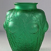 "Ren� Lalique Emerald Green ""Domremy"" Vase"