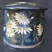 SALE English Victorian Black Lacquer String Holder w/Daisies