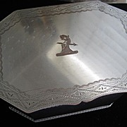 SALE Large Silverplate on Copper Box with Etched Crest & Inscription