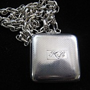 "Lovely English Hallmarked Locket/Compact on Silver Chain ""K.C."""