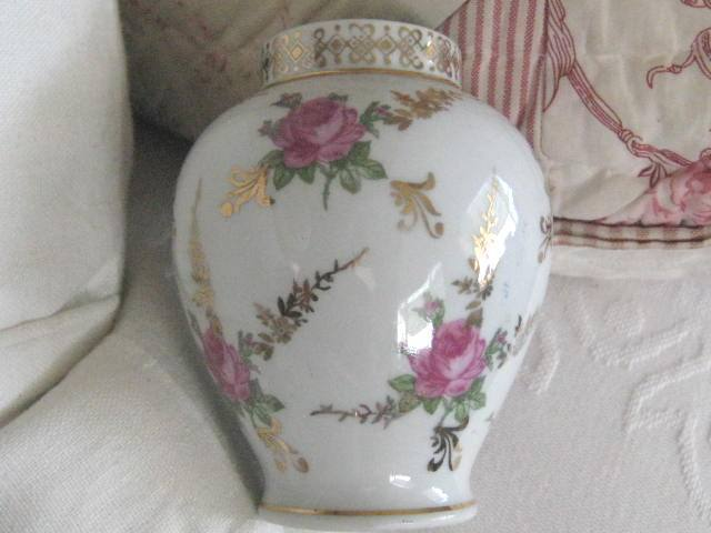 Pretty Vintage German Dresden Vase with Roses