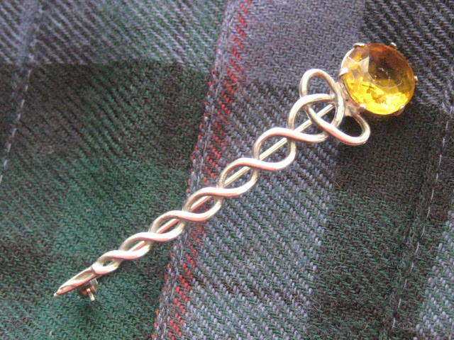 Vintage Scottish Silver Kilt Pin with Faceted Citrine