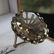 Large Vintage English 9ct Rose Gold Ring w/Topaz Stone Size 6.5