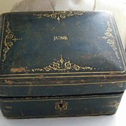 "Adorable Antique Jewelry Box with Gold Scrolled Tooling ""JUNE"""