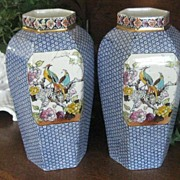 Pair Large Antique Blue Transferware English Vases w/Exotic Birds