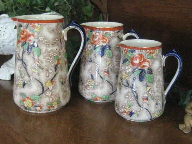 Three Graduated English Victorian Chintz Jugs by Corona &quot;Rosetta&quot;