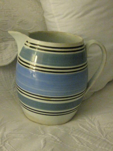 Antique LARGE 7  1/2 inch English Blue and White Mocha Pitcher