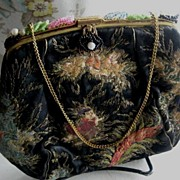 Antique Black Heavily Embroidered Purse - Japanese Influence