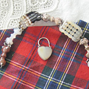 Scottish Victorian Agate Bracelet with Heart Lock