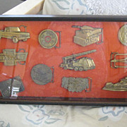 Vintage Collectible Brass Buckle Display-Harley Davidson, Gold Stripe