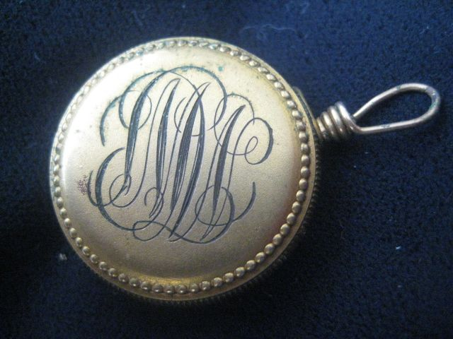 Very Old Monogrammed Brass Brooch w/Attaching Chain