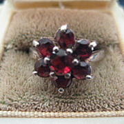 REDUCED: Vintage English Silver Ring with Garnet Stones Size 8.5