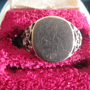 Vintage Silver Signet Ring with Fancy Shoulders  Size 9