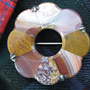 Scottish Vict Brooch/Pendant, Silver with Wonderful Colored Agates