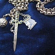 Victorian Long GF Chain with Jeweled Dagger Brooch.
