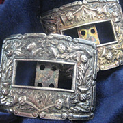 Pair of Vintage Scottish Buckles with Thistles