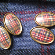 Vintage Scottish Tartan Double Cufflinks - Red