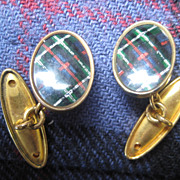Vintage Scottish Tartan Double Cufflinks - Green