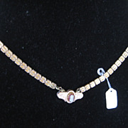 Victorian Gold Filled Book Chain Necklace with Cameo