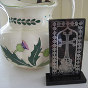Wonderful Scottish Agate Standing Cross w/Silver Inlay