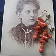 Victorian Coral Earrings with Wires