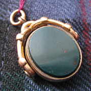 Oval Victorian (1885) Bloodstone & Agate Fob, Fancy 9ct Gold Bezel