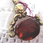 Victorian Gold Filled watch Fob with Amber Color Stone