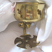Vintage Brass Bathroom Glass Holder and Toothbrush Holder