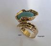 14ct yellow gold single stone Australian solid Opal ring