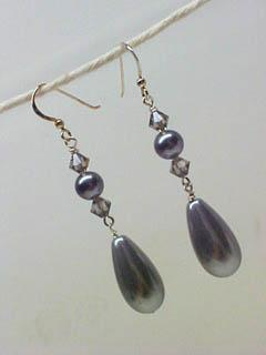 Gray Pearl Teardrop Earrings
