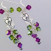 Fuchsia And Olivine Swarovski Bead Sterling Heart Charm Earrings