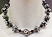 Black And White Lamp Work Bead Necklace With Sterling Accents