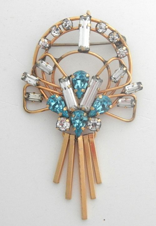 Star Art 12K GF Art Deco Pin With Dangles
