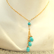 Sleeping Beauty Turquoise Briolettes Necklace
